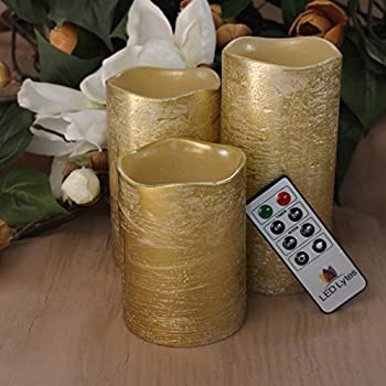 RUSTIC GOLD FLAMELESS Candles with Timer Remote Control, Unscented Flickering Battery Operated Electric Candle for Halloween, Weddings, Parties and Awesome Gifts