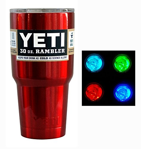 YETI Custom Powder Coated 30 oz (30oz) Rambler Tumbler with Lid and LED Multi-color Light (Red Metallic)