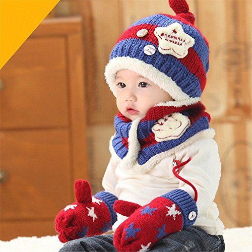 Fashion Boys Wool Hat/Scarf/Mitten Set Knitted Plush Hat Scarf Red & Vavy Blue