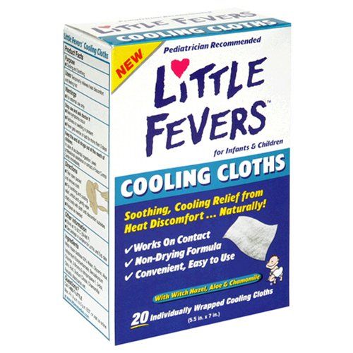 Little Fevers Cooling Cloths for Infants & Children with Witch Hazel, Aloe & Chamomile, 20 cloths