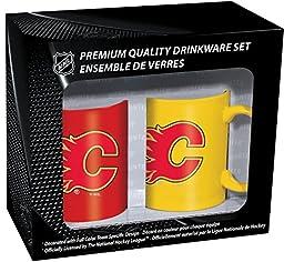 NHL Calgary Flames Ceramic Mug Set (2-Piece), 11-Ounce, Clear