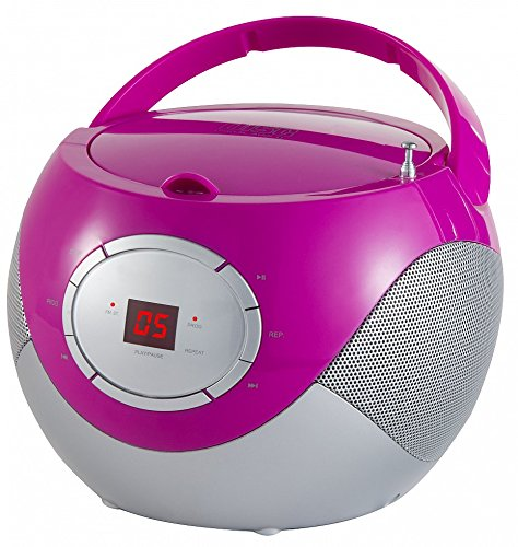 Tragbares CD-Radio tragbarer Kinder CD-Player Radio Boombox Musikanlage AUX IN PINK