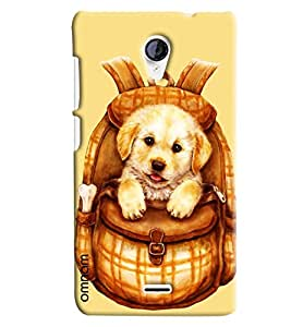 Omnam Beautiful Dog In Bag Printed Designer Back Cover Case For Micromax Unite 2 A106