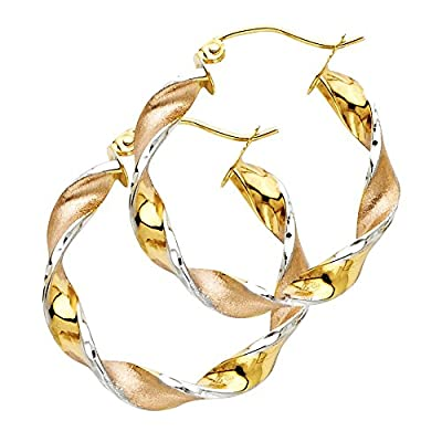 Wellingsale® Ladies 14k Tri 3 Color Gold Polished Satin 4mm Twisted Hinged Hoop Earrings (25 x 25 mm)