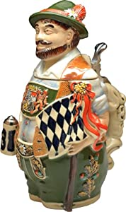 Beer Stein by King - Collectors Edition Bavarian Patriot 3D Figurine Specialty Authentic German Beer Stein (Beer Mug) Limited Edition - Made in Germany