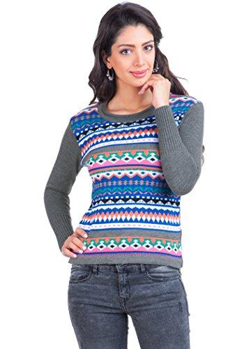 Zovi Women Acrylic Multicolored Aztec Print Sweater