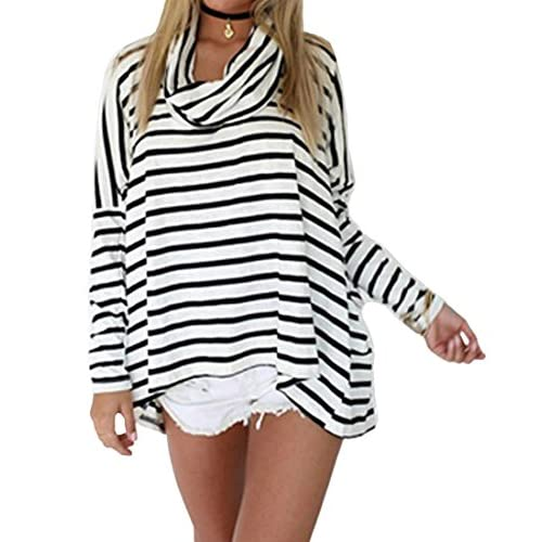 Womens Fashion Cotton Loose Long Sleeves Poloneck Striped T-shirt Basic Tops Blouse