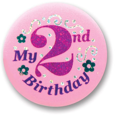 "My 2nd Birthday Satin Button (Pink) 2"" Party Accessory"