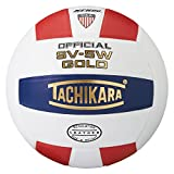 Tachikara SV5W Gold Competition Premium Leather Volleyball (Scarlet/White/Navy)