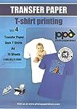 A4 Inkjet (Jet d'encre) Papiers transferts application avec un fer à repasser / Transferts pour T Shirt - T Shirt foncé x 10 Feuilles
