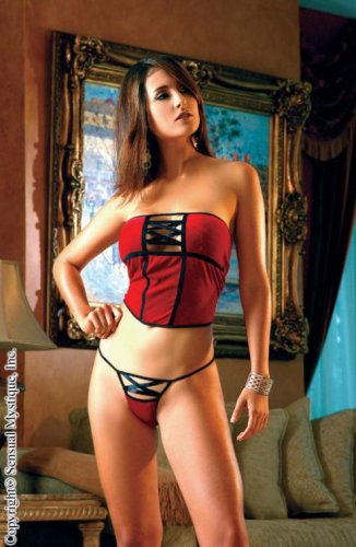 Buy Stretch velvet strapless short corset and thong