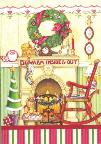 """Mary Engelbreit """"Be Warm Inside & Out"""" Rocking Chair with Christmas Stockings Hung By the Fire with Care Motif Softcover Notebook Journal Diary Planner - 1"""