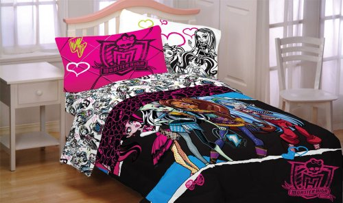 Monster High Dolls Ghouls Rule 4Pc Twin Bedding Set