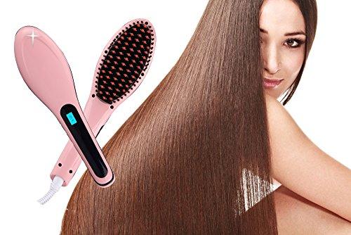Straight Hair Stylish Straightener Brush Anti Static Anti Scald Anion Ceramic Iron Heating Hair Brush Instant Silky Straight Hair Styling Massage Head Brush Electronic Detangling Comb for Women Girls