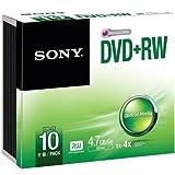 Sony 10Dpw47ss Dvd+Rws With Slim Jewel Case 10 Pk