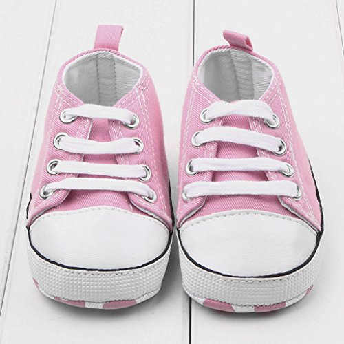 Dealzip Inc Toddler Infant Baby Boy Girls Soft Sole Canvas Sneaker for Prewalker(12-18 months,Pink)