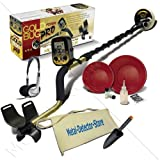 "Fisher Gold Bug Pro Metal Detector W/5"" Waterproof Search Coil, Gold Pan Kit, Headphones, Finds Apron, Treasure Trowel"