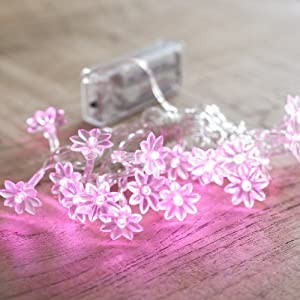 Sunflower Battery Fairy Lights, 20 Pink LEDs for Indoor Use by Lights4fun