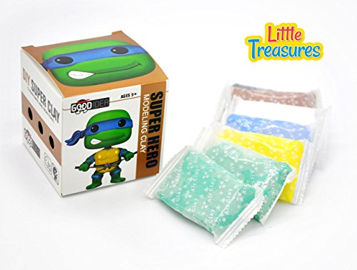 Green Turtle ninja Clay modeling and sculpting DIY play-set - create your favorite cartoon super-hero characters with molding play-dough kit - a fun arts and craft kid's artist toy project (Ninja Turtle Dough compare prices)