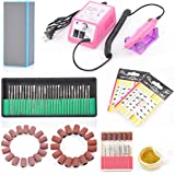 Complete Professional Finger Toe Nail Care Electric Nail Drill Machine Manicure Pedicure Kit Electric Nail Art File Drill w/ Pink Machine Set