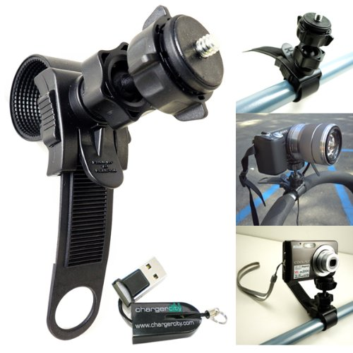 ChargerCity Swivel Adjustment HD Action Camera Camcorder Tripod Mount for ATV Snowmobile Motorcycle Bicycle Bike Bar Boat Helm with Tripod 1/4 20 Screw Thread. Compatible with all Sony HDR NEX Polaroid XS Panasonic HX ION Air Pro 2 3 Nikon Leica Canon