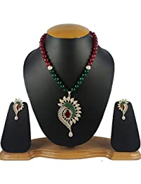 Aradhya High Quality AD Gold Plated Onyx Beads Pendant Necklace Set With Earrings For Women And Girls