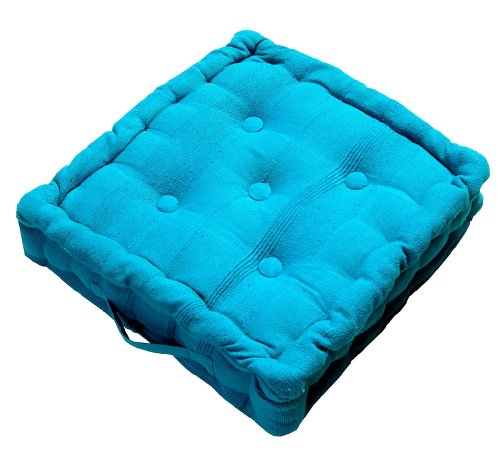 Homescapes Rajput 100% Cotton Floor Cushion Teal 40 x 40 x 10 cm Square Indoor Garden Dining Chair Booster Seat Pad Cushion