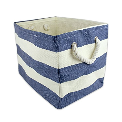 DII Woven Paper Textured Storage Basket, Collapsible & Convenient Storage Solution for Office, Bedroom, Closet, Toys, Laundry - Large, Nautical Blue Stripe (Nautical Baskets For Storage compare prices)