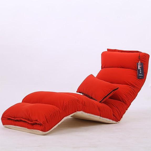 LIYONGDONG® Sedia a sdraio pieghevole con schienale regolabile Comodo divano pigro per cuscino da pavimento per ufficio , red , S