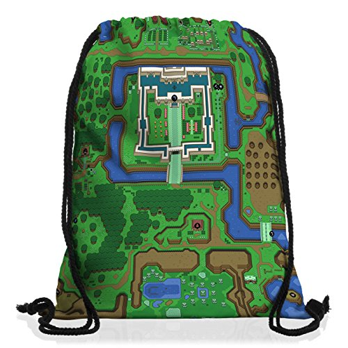 style3 Hyrule Borsa da spalla sacco sacchetto drawstring bag gymsac link snes n64 past ocarina of time wind waker
