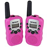 Retevis RT-388 Portable Kids Walkie Talkie 22 Channel FRS/GMRS LCD Display Flashlight VOX Toy2 Way Radio for Children (Pink, 1 Pair)