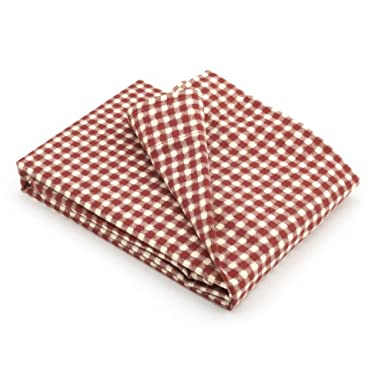 V&A Ikat Gingham Curtain (Brick Red)||RLCTB