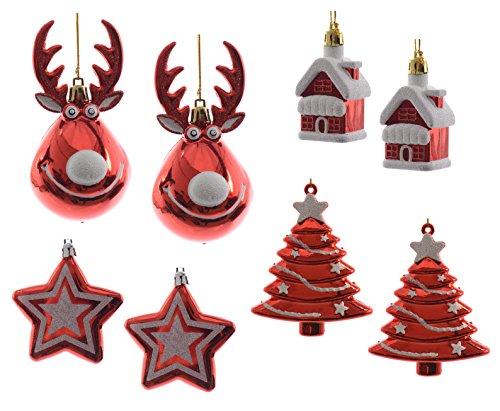 8-Weihnachtsanhnger-Rentier-Rudolph-mit-Sternen-Huschen-und-Tannenbumen-8-Stck-Kunststoff-rot-wei-Glimmer-Anhnger-Weihnachtsschmuck-Baumschmuck