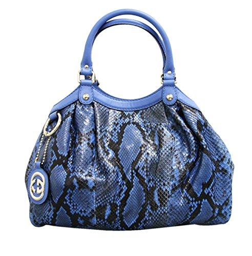 Gucci Blue Sukey Python Medium Tote Handbag