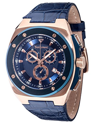 Yves Camani Men's Quentin Quartz Watch with Blue Dial Analogue Display and Blue Leather Bracelet YC1072-B