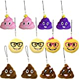 WEP 12 PACK - Emoji Keychain Cushion Emoticon Plush Smiley Face Key-Chain Bag Accessory Mini Cute Gift Pink Poop...