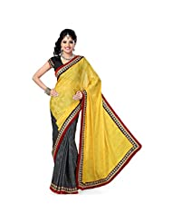 Firstloot Ochre And Grey Satin Jaquard And Satin Embroidered Saree