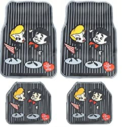 I Love Lucy - 4PC Lucy &amp; Ricky Stick Figure Rubber Front and Rear Floor Mat