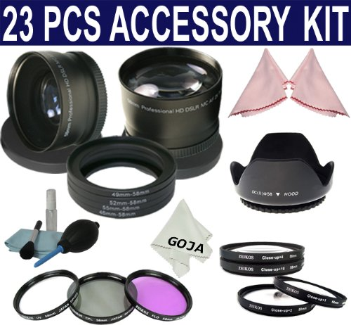 Essential Kit for CANON Rebel (XT, XTi, XSi T1i, T2i, T3i), CANON EOS (550D 500D 450D 400D 350D 300D) Includes: 58mm 0.45x Wide Angle + 58mm 2.0x Telephoto + Macro Close Up Set (+1 +2 +4 +10) + 58mm UV Filter + Adapter Ring Kit + Tulip Flower Lens Hood + Filter Kit (UV, Polarizing, Fluorescent) + Cleaning Kit