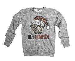 Bah HumPug Funny Dog Pug Ladies & Mens Unisex Loose Fit Christmas Sweater