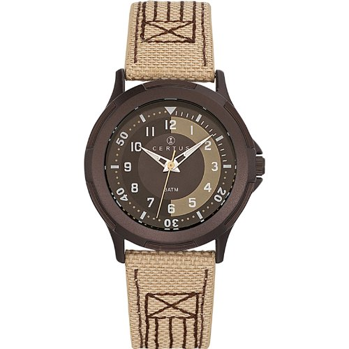 Certus - 647557 Synthetic Strap Unisex Watch - Analogue Quartz - Black Dial - Brown