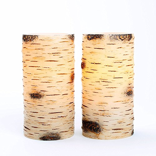 "Set Of 2 Birch Bark 3"" X 6"" Led Flameless Battery Candles"