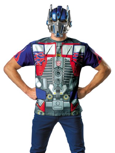 Transformers Optimus Prime Costume Superhero T-Shirt and Mask Theatrical Mens