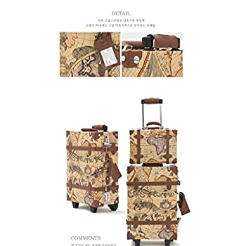 EDDAS ETHOS PVC Vintage & Retro Style Carry-On Luggage and Cosmetic Tote Bag Set with 3 Dial Lock (Product of Korea)