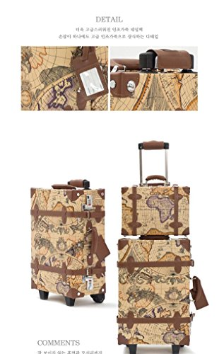 EDDAS ETHOS PVC Vintage & Retro Style Carry-On Luggage and Cosmetic Tote Bag Set with 3 Dial Lock (Product of Korea) 1