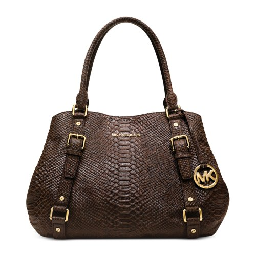Michael Kors Bedford Large East West Satchel In Mocha Snake Print