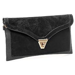 BMC Womens Onyx Black Textured PU Faux Leather Suede Topped Envelope Flap Handbag Fashion Clutch