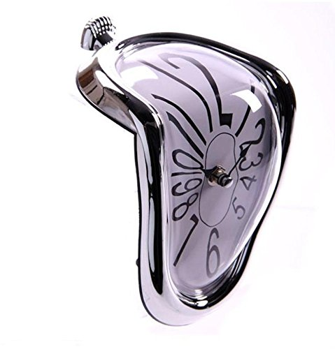 NEW SALVADOR DALI STYLE MELTING MANTEL SHELF CLOCK SILVER CLCK14 ;FW892HJT23T425838