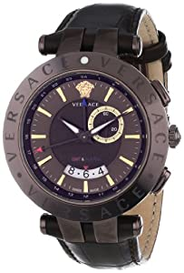 """Versace Men's 29G60D598 S497 """"V-Race Brown"""" Stainless Steel Watch with Leather Band"""