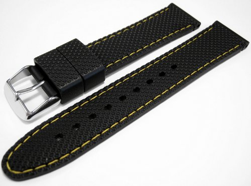 Black Rubber Divers Sports Watch Strap Band Yellow Trim 18mm